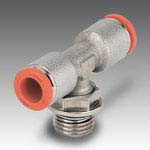 Central tee, male, cylindrical, rotary R32