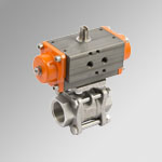2-ways 3 pieces Actuated ball valves single-acting