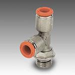 Raccordo T laterale maschio cilindrico girevole R38